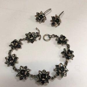 Sterling Silver Flower Bracelet & Earrings
